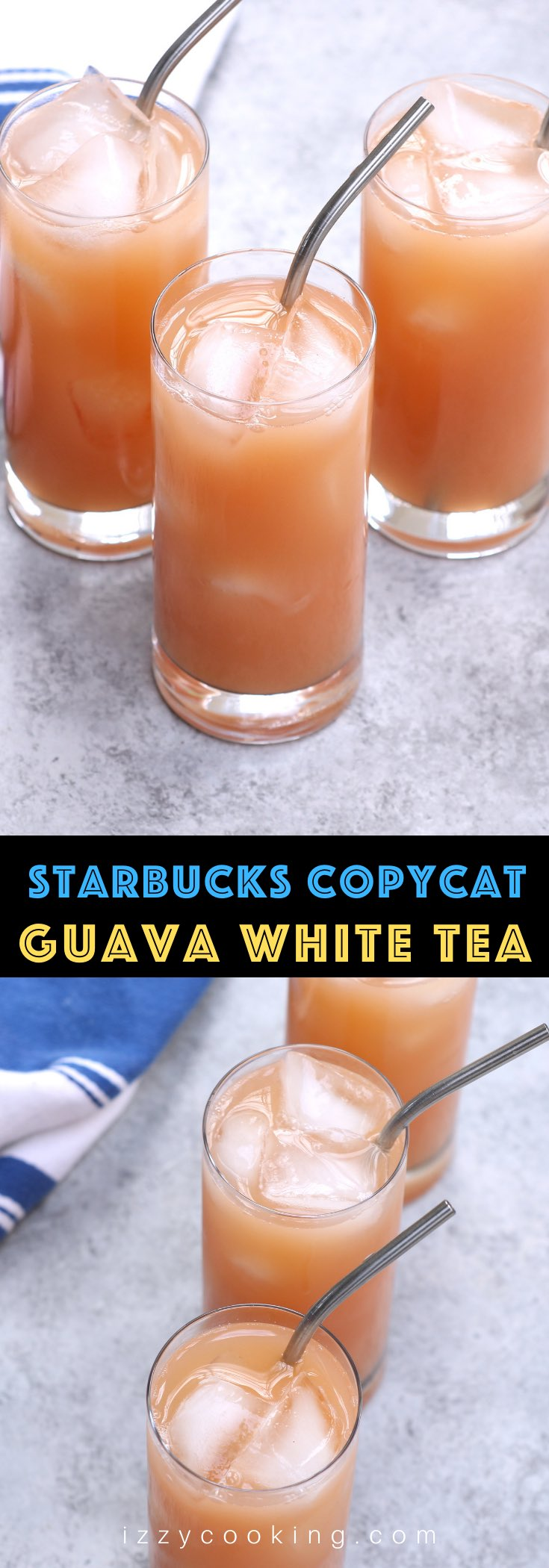 This Iced Guava White Tea is the real deal! It gives all the delicious and refreshing flavor and tastes just like the one from Starbucks at the fraction of the price. You can make it at home with or without lemonade! #IcedGuavaWhiteTea #IcedGuavaTeaLemonade