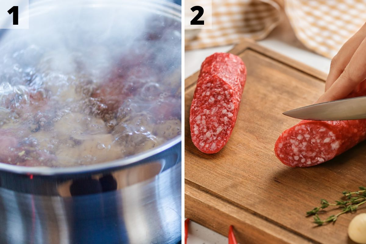 Low Country Boil Recipe: Step 1 and 2 Photos.