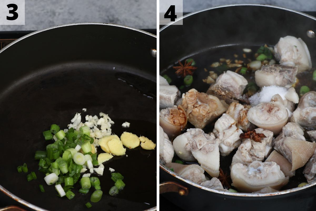 Pig's tail recipe: step 3 and 4 photos.