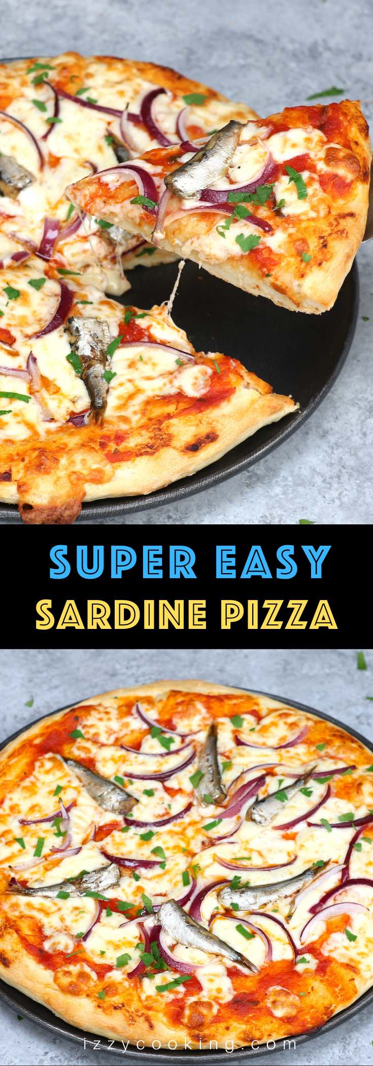 Sardine Pizza is my go-to meal when I have canned sardines and onions on hand. This classic Italian recipe is really easy and delicious. You'll want to make this homemade pizza over and over again! #SardinePizza