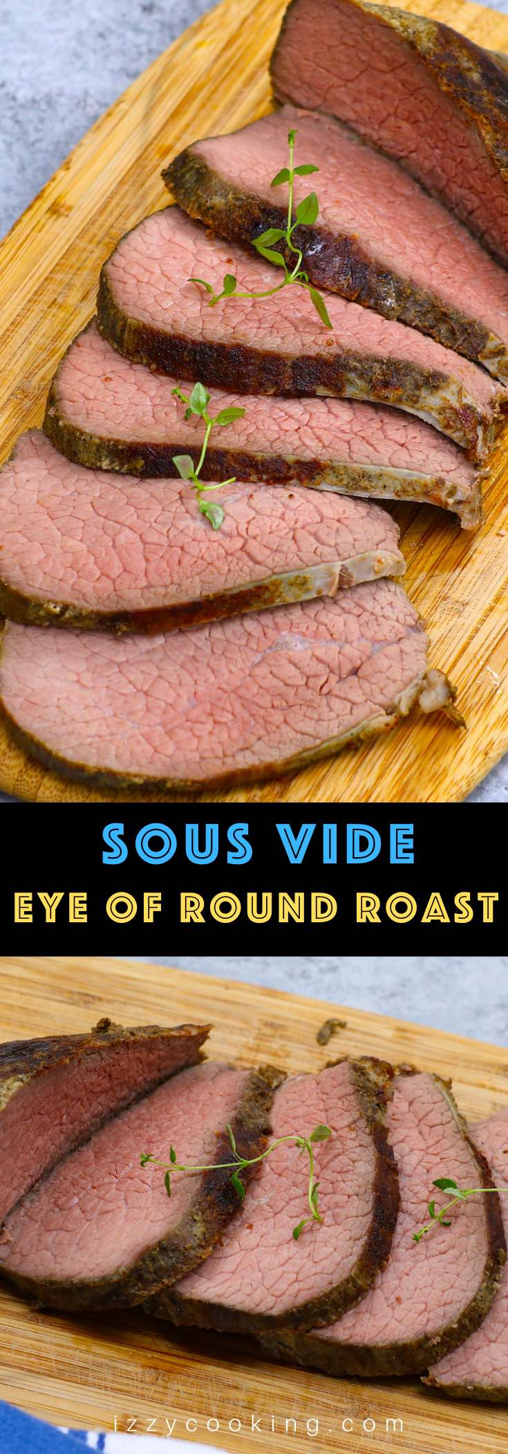 Sous Vide Eye of Round is the best way to cook this affordable beef cut, turning it into the most tender and juicy roast! This 16-hour low and slow sous vide method transforms the tough cut into a delicious eye of round roast that's perfectly moist from edge to edge. Great for a festive holiday meal on a budget!