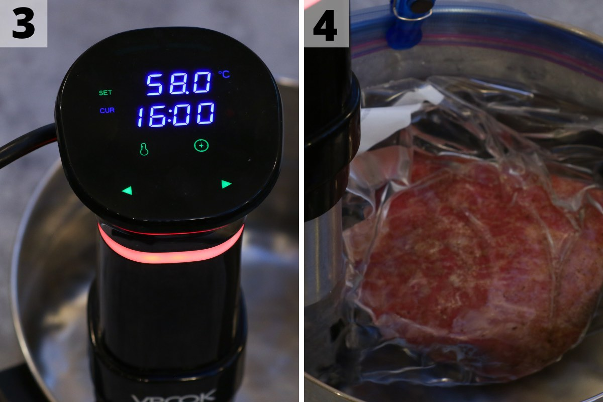 Sous Vide Eye of Round recipes: step 3 and 4 photos.