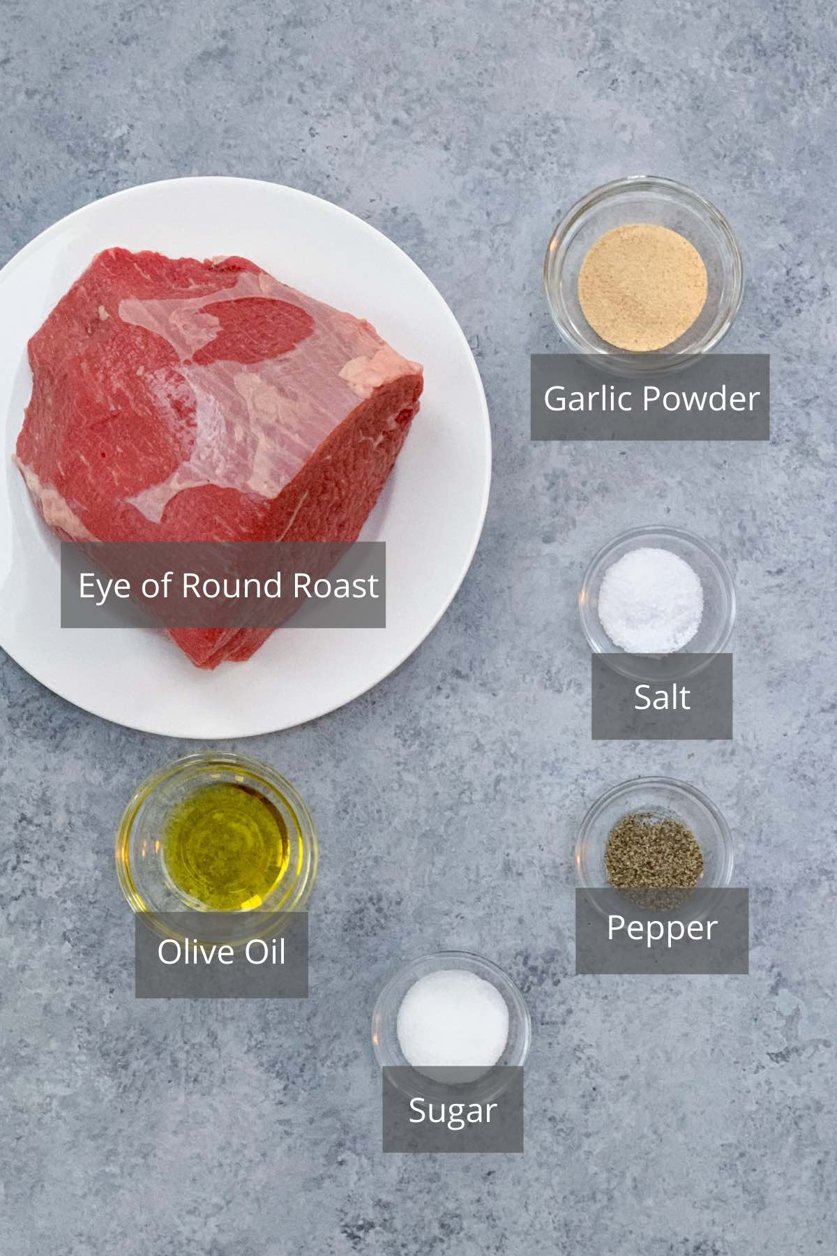 Sous Vide Eye or Round ingredients on the counter.