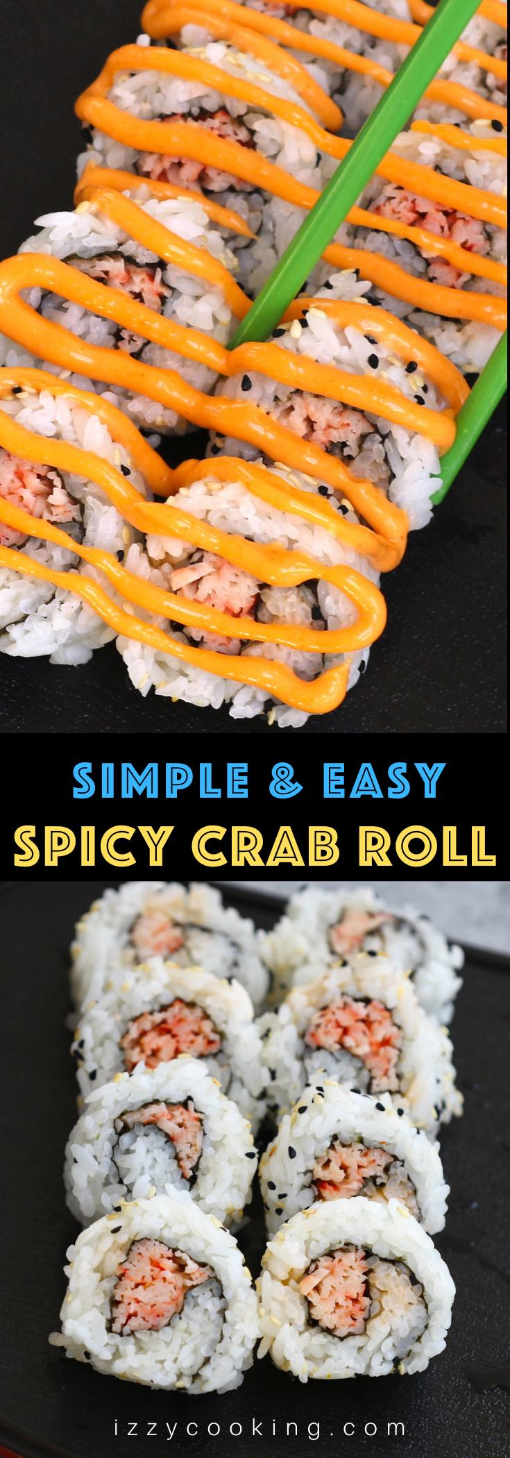 Spicy Crab Roll is a popular Japanese sushi roll – creamy, satisfying, and fiery spicy. The kani crab stick is shredded and then seasoned with sriracha spicy mayo, then wrapped in nori seaweed sheets and seasoned rice. These simple sushi rolls take about 15 minutes to make once the sushi rice is ready. I'll share with you the secrets on how to roll perfect sushi with step-by-step photos. #SpicyCrabRoll #SpicyKaniRoll