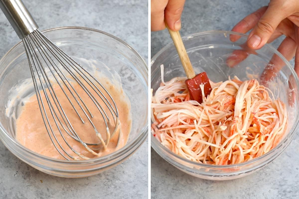 Photo collage showing how to make spicy kani salad.