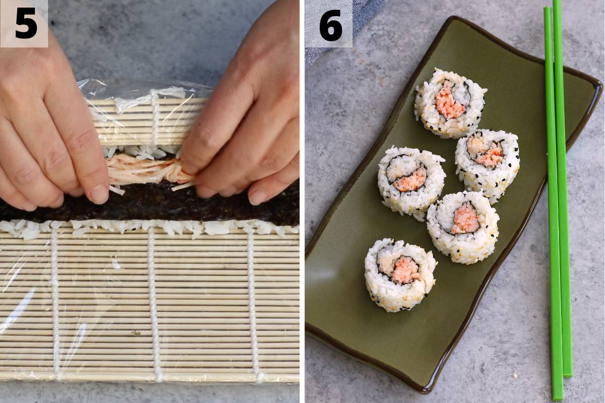 How to roll up spicy kani sushi: step 5 and 6 photos.