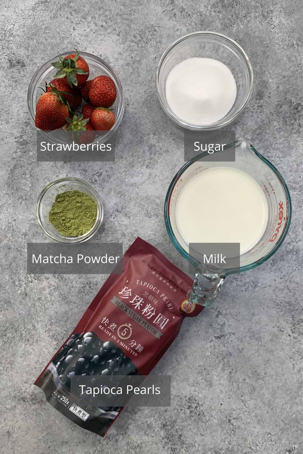 Strawberry Matcha ingredients on the counter.