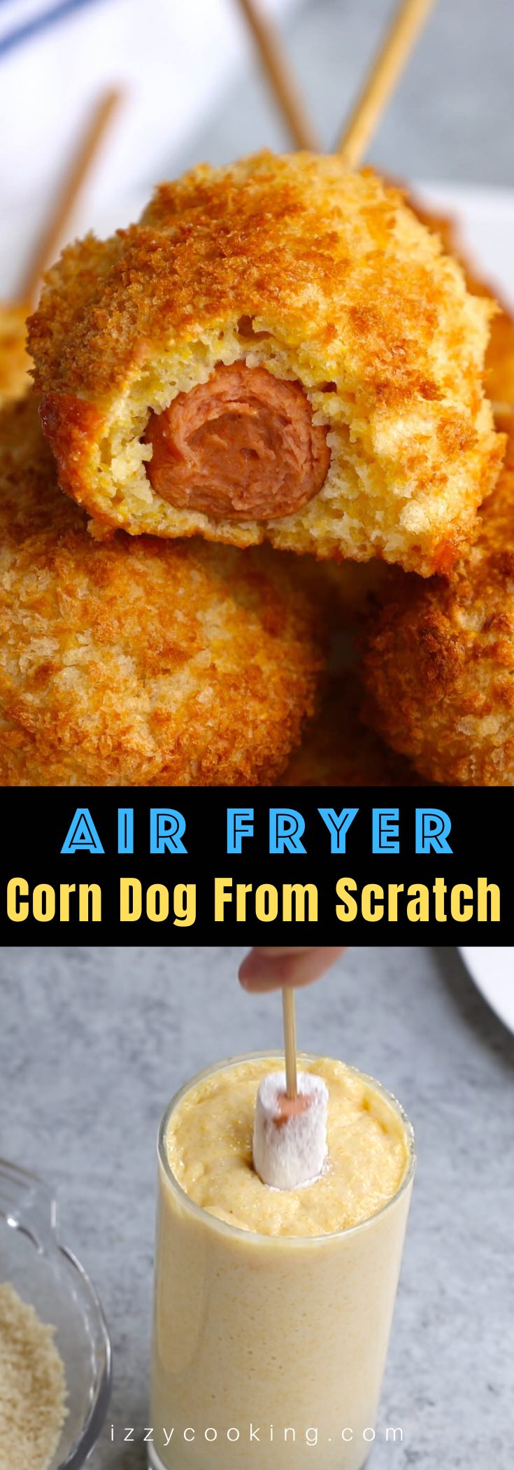 These crispy and crunchy Air Fryer Corn Dogs are made from scratch without deep-frying! A healthy corn dog recipe that everyone loves! We've also included instructions on how to air fry frozen corn dogs if you'd like to cook them straight from the freezer!