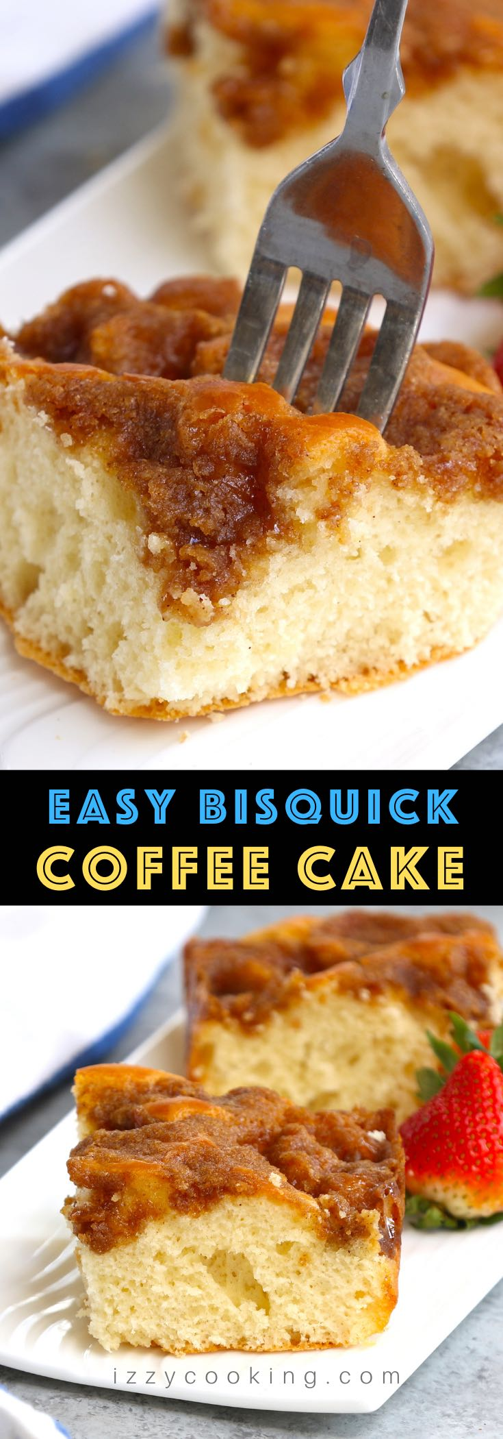 This easy Bisquick Coffee Cake is perfectly moist, buttery, and topped with crunchy cinnamon streusel! Have you ever woken up on a Sunday morning and just craved that perfect dessert or treat to pair with your morning coffee? This recipe uses Bisquick mix for a quick and easy coffee cake – perfect for breakfast or brunch!