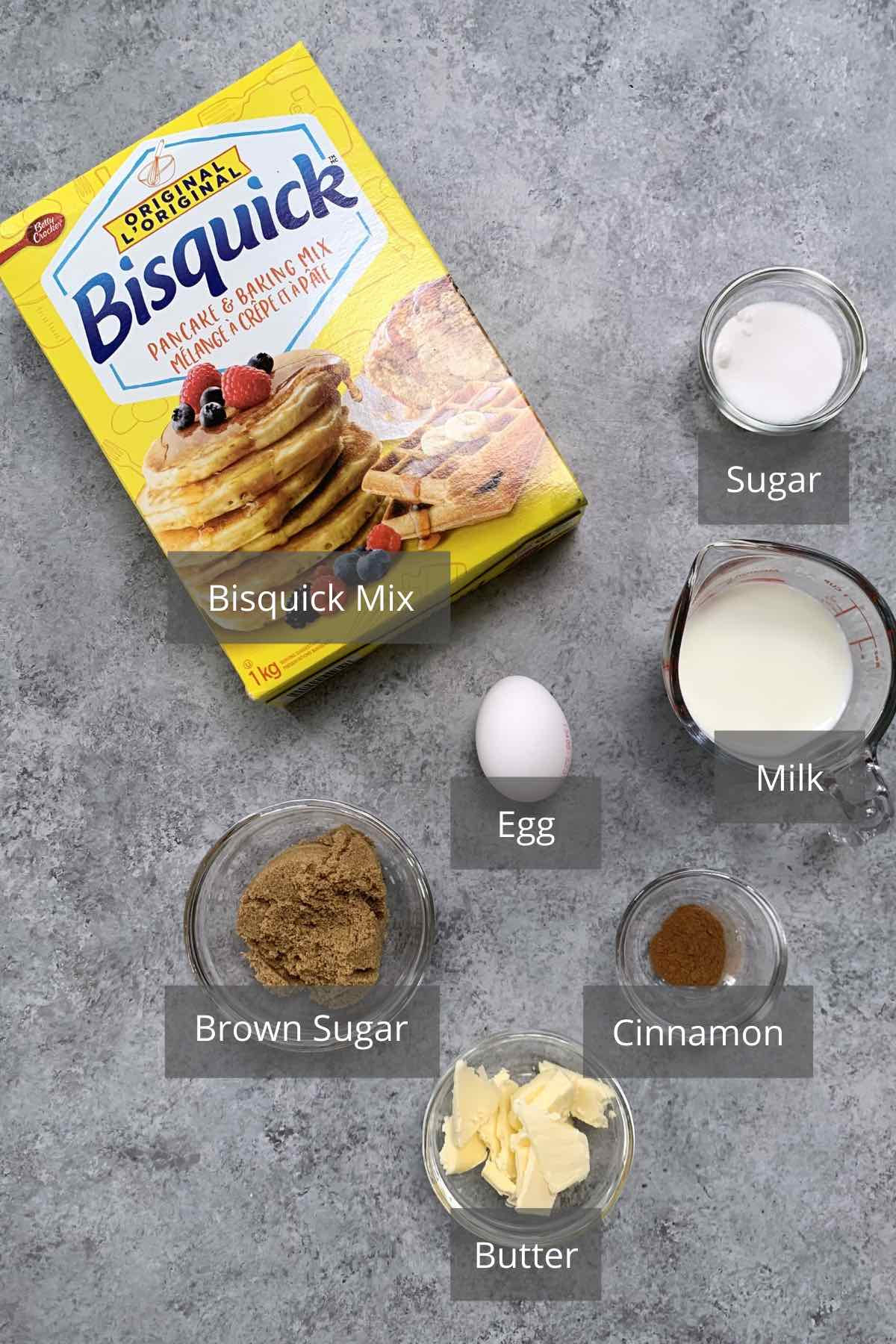 Bisquick Coffee Cake ingredients on the counter.