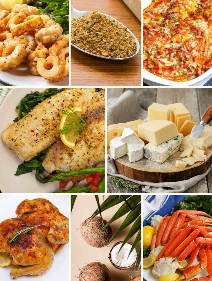 Photo collage showing 8 other foods that start with c.
