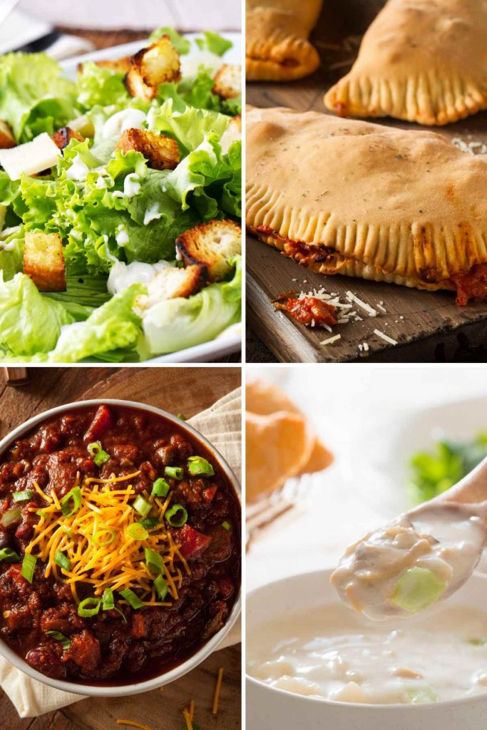 Photo collage of 4 lunch recipes that start with c.
