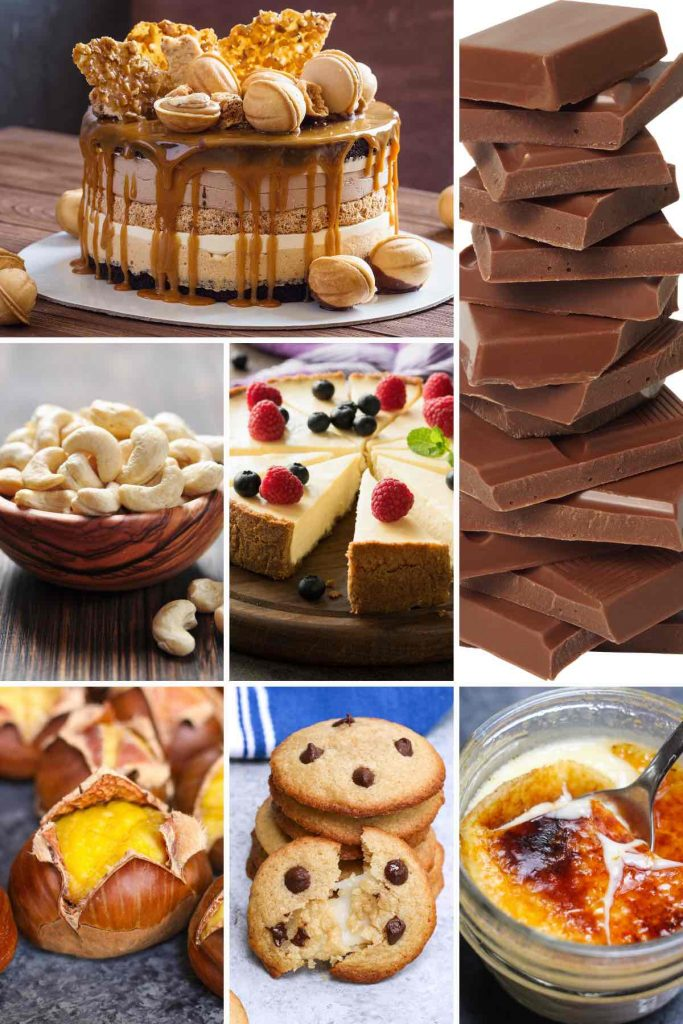 Photo collage showing 7 desserts that start with c.