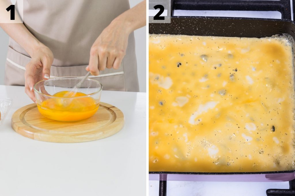 Photo collage showing how to make tamagoyaki: step 1 and 2 photos.