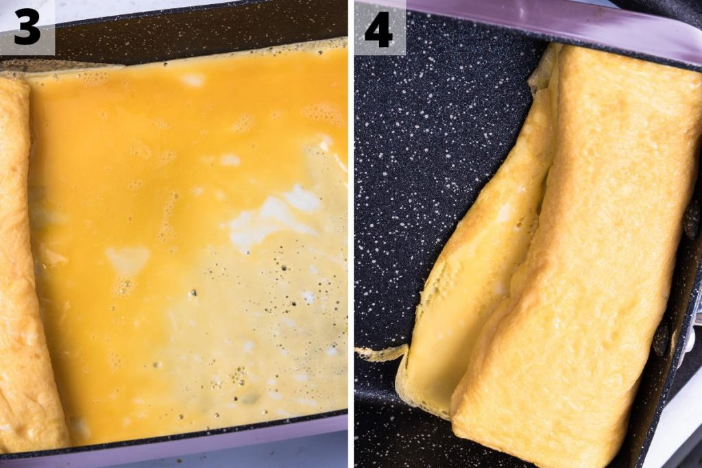 Photo collage showing how to make tamagoyaki: step 3 and 4 photos.