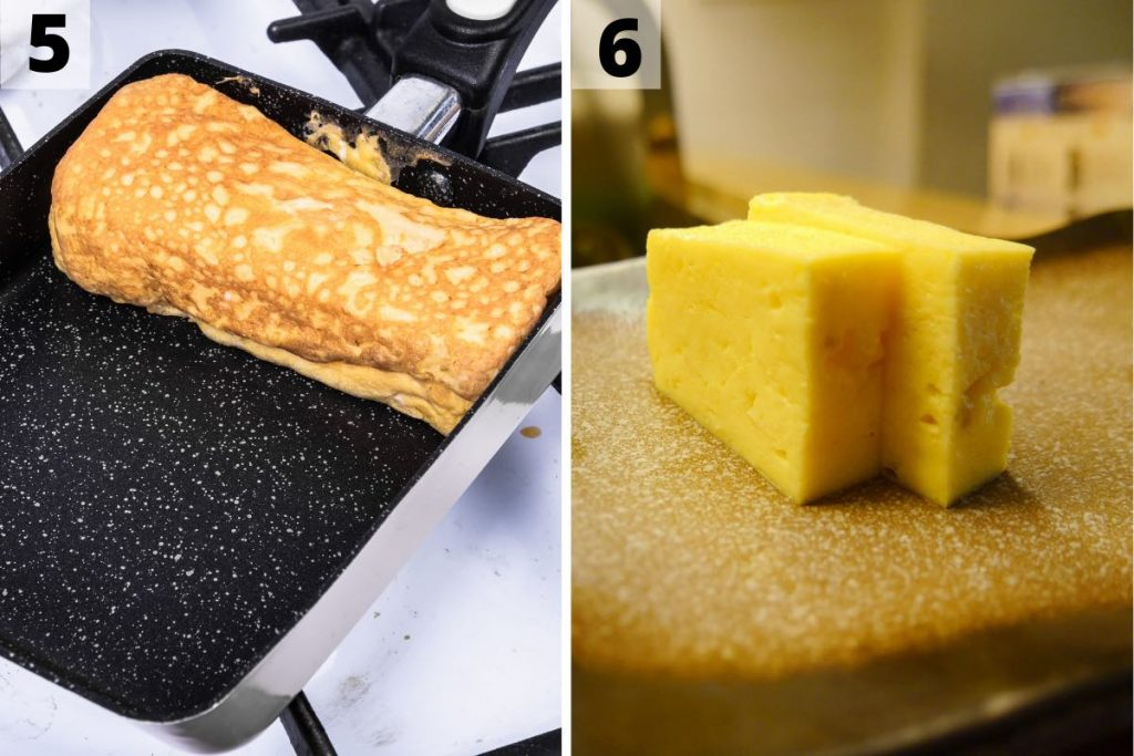 Photo collage showing how to make tamagoyaki: step 5 and 6 photos.