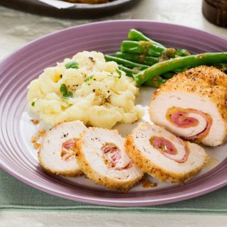Microwave mashed potatoes are a quick and easy side dish to serve with chicken cordon bleu!