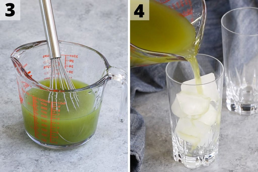 Matcha Lemonade Recipe: Step 3 and 4 photos.
