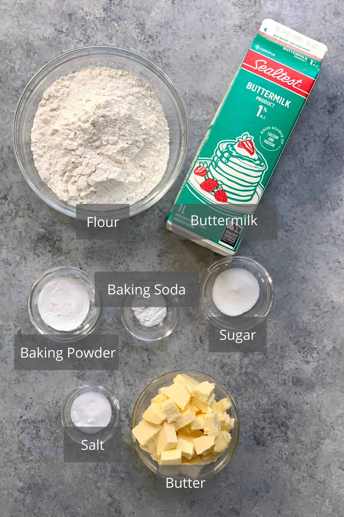 Popeyes Biscuits ingredients on the counter.