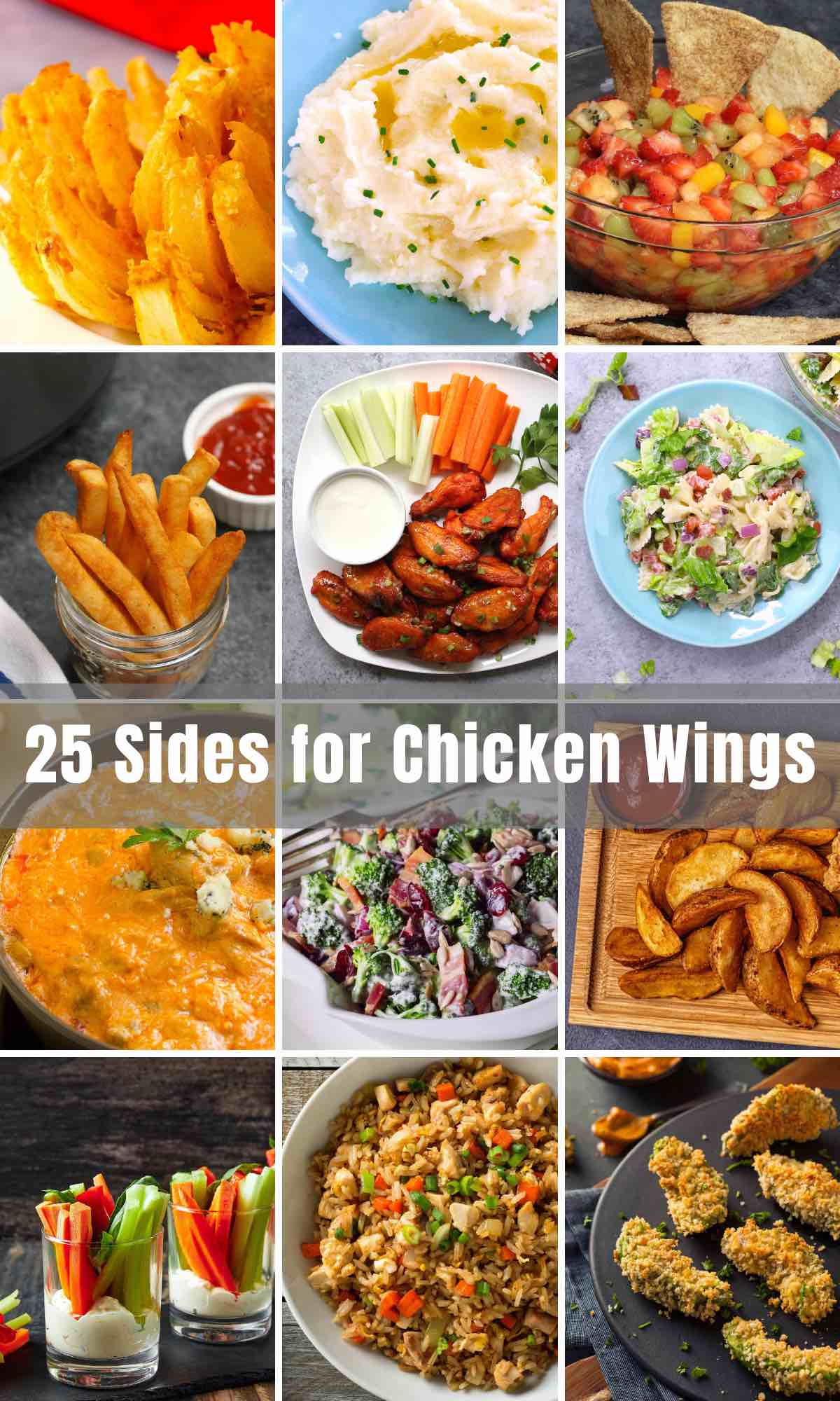 Are you looking for sides for your chicken wings? I have plenty! We have all our favorite side dish recipes you'll need to serve with your chicken wings – appetizers, dips, salads, salsas, pasta – you name it!
