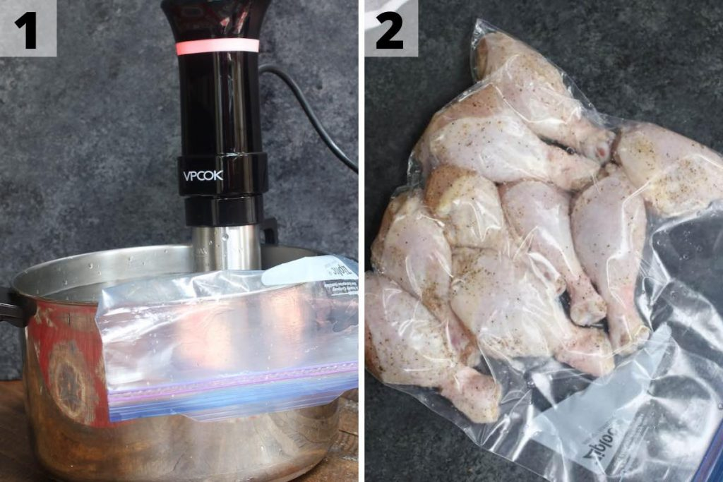 Sous Vide Fried Chicken Recipe: Step 1 and 2 photos.