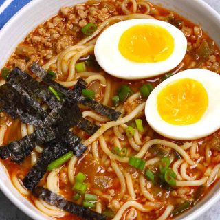 This warm, flavorful Spicy Miso Ramen will satisfy your cravings with a savory chicken broth, hearty ramen noodles and toppings like soft-boiled egg and green onions. You can easily make this delicious, authentic miso ramen at home in less than 30 minutes – it's even better than the one from the restaurant!