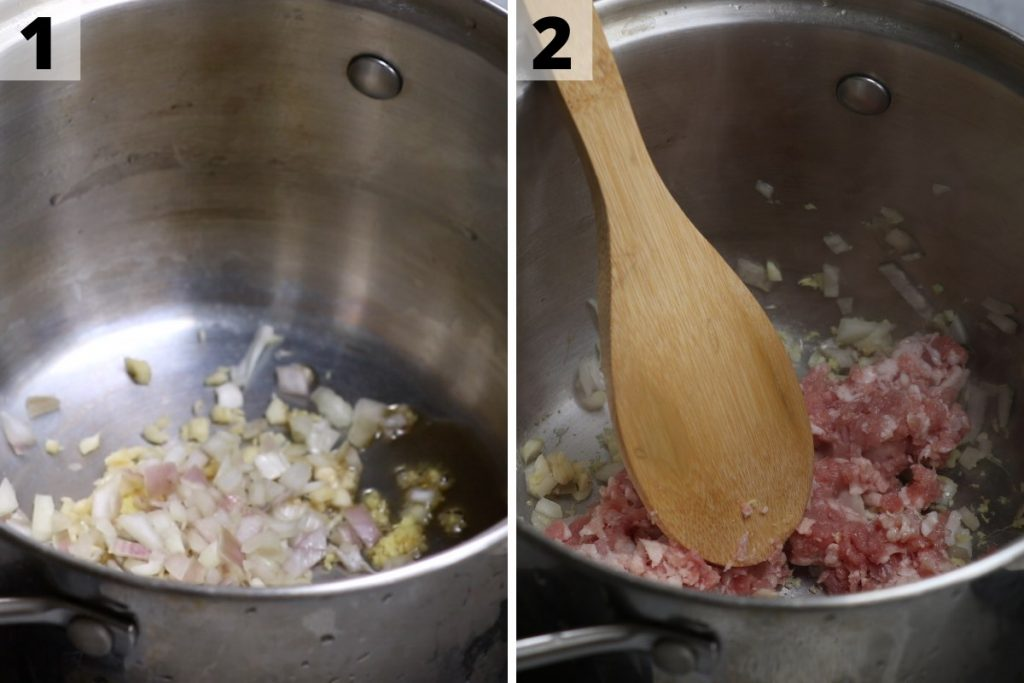Spicy Miso Soup: step 1 and 2 photos.