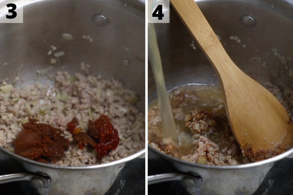 Spicy Miso Soup: step 3 and 4 photos.