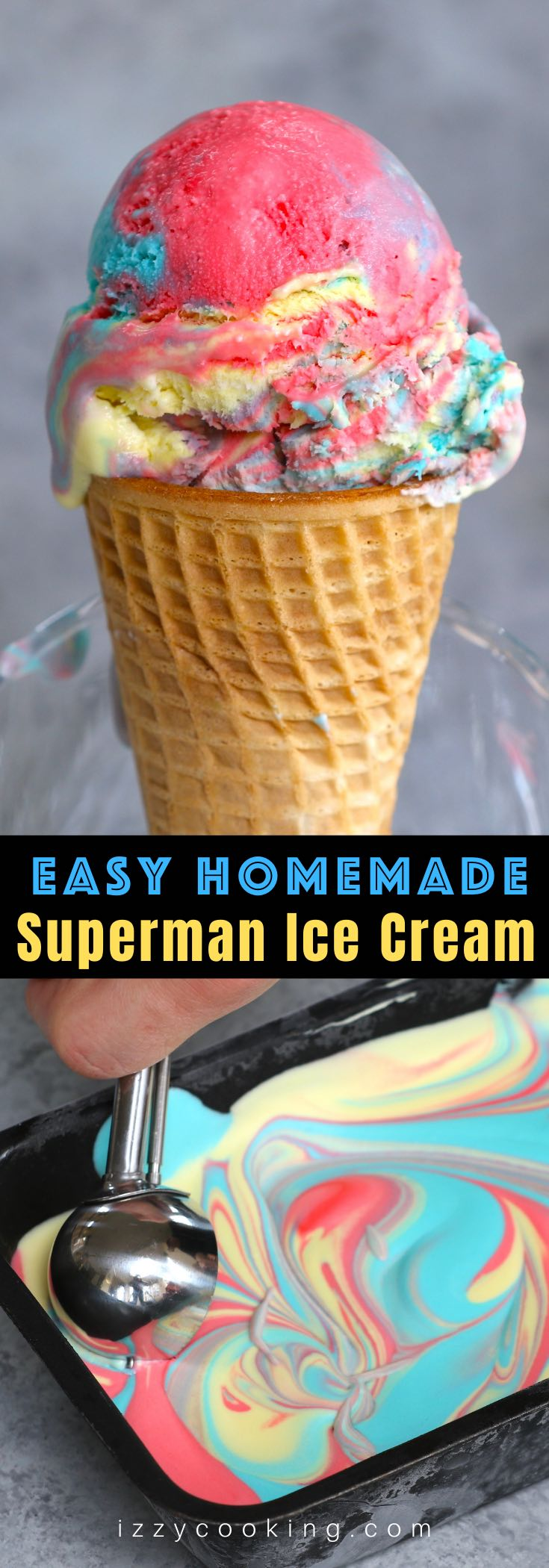 Looking for a fun way to cool down on a hot day? Look no further than Superman Ice Cream – Michigan's favorite ice cream flavor! Our homemade vanilla superman ice cream comes as a swirl of 3 colors: blue, red, and yellow, just like the colors of Superman's costume. This easy recipe will have you indulging in a sweet rainbow scoop in very little time.
