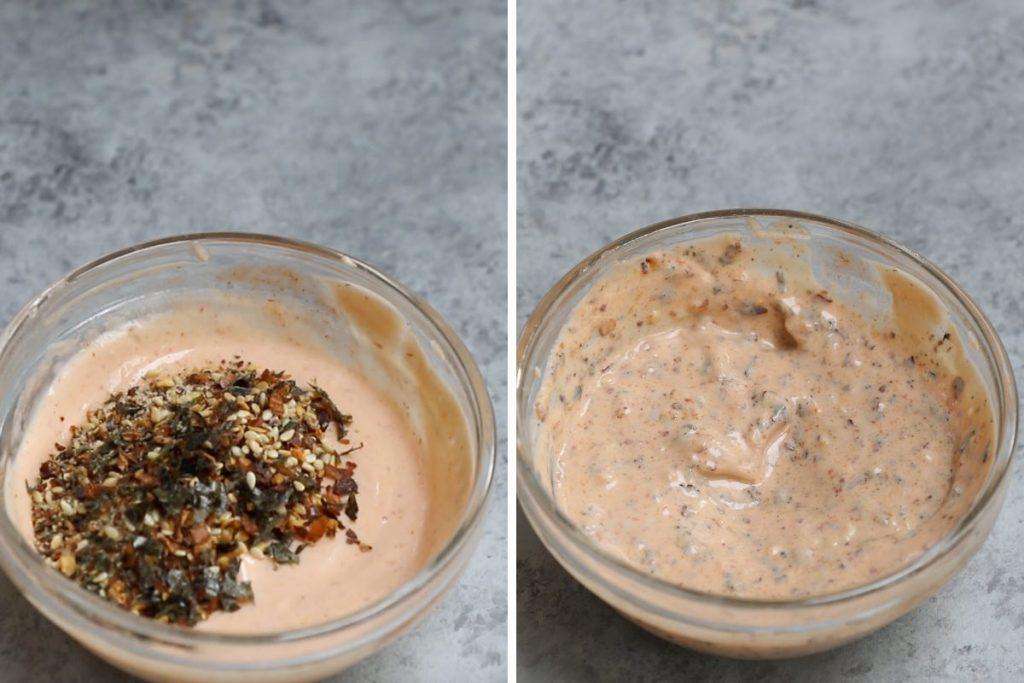 Photo collage showing how to make togarashi sauce.