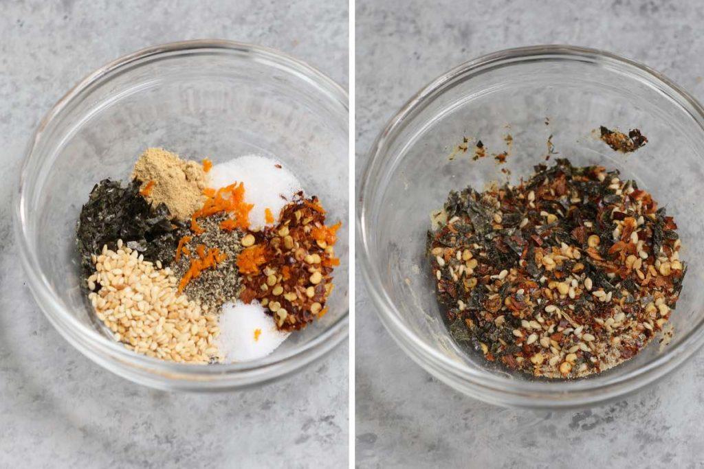 Photo collage showing how to make togarashi seasoning.
