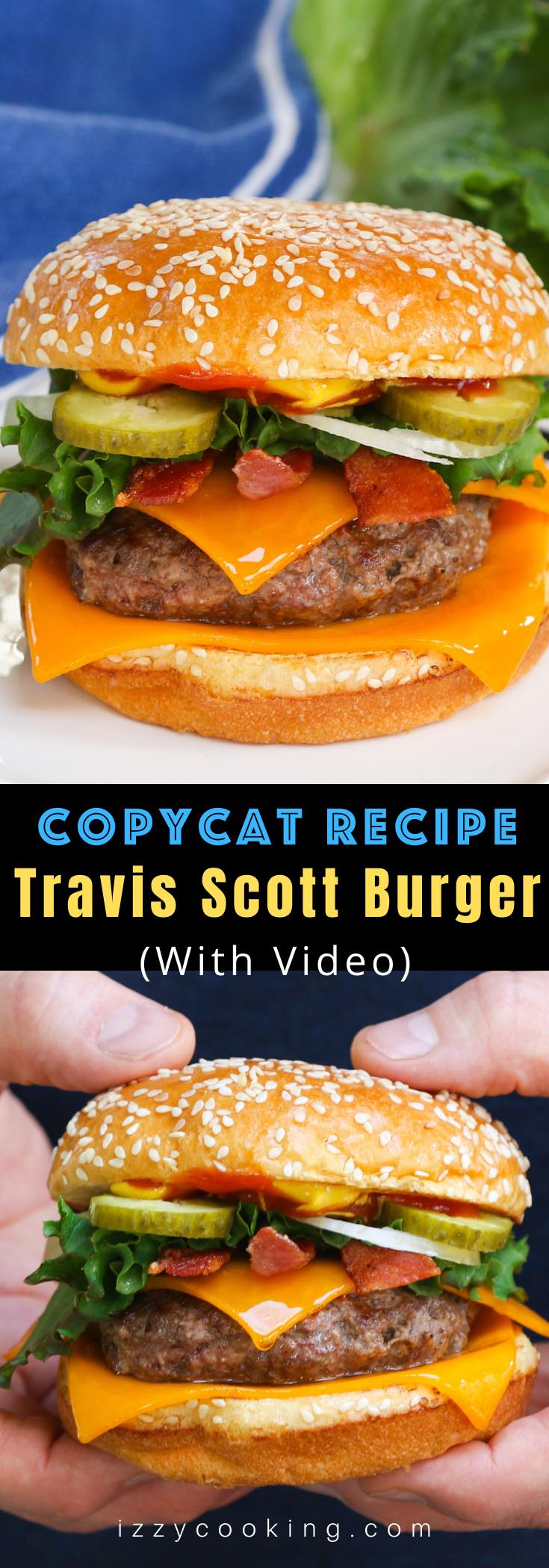 This Travis Scott Burger copycat recipe captures the exact McDonald's flavors for you at home with a Quarter Pounder, cheese, bacon, lettuce, and sesame seeds hamburger buns! Serve it with French fries with barbecue sauce and a large Sprite for a true rapper Travis Scott X McDonald's cheeseburger experience!