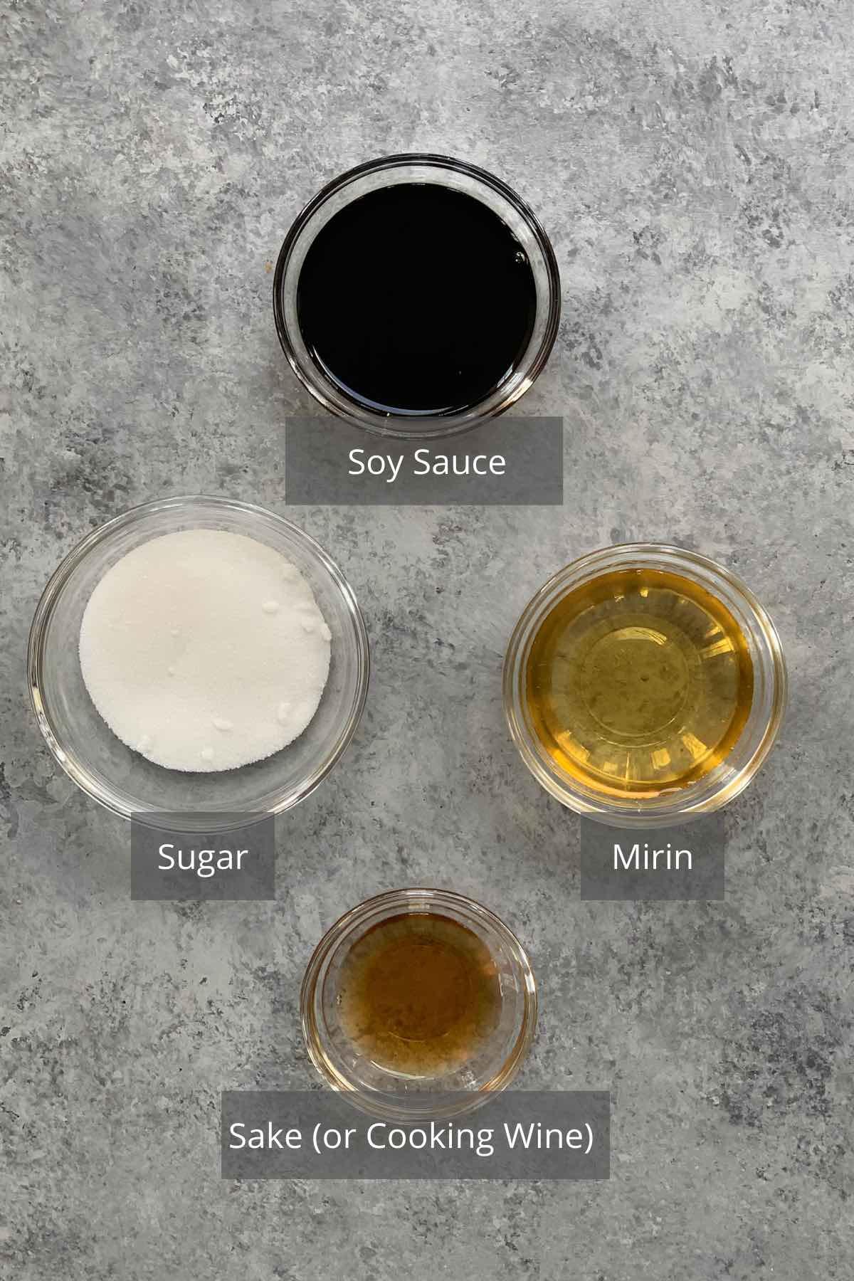 Unagi sauce ingredients on the counter.