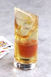 Viva Las Vegas Bomb! This electrifying cocktail is made from Royal Flush Shot and Red Bull energy drink. You can make this perfect party drink at home and impress friends and family with your bartending skills.