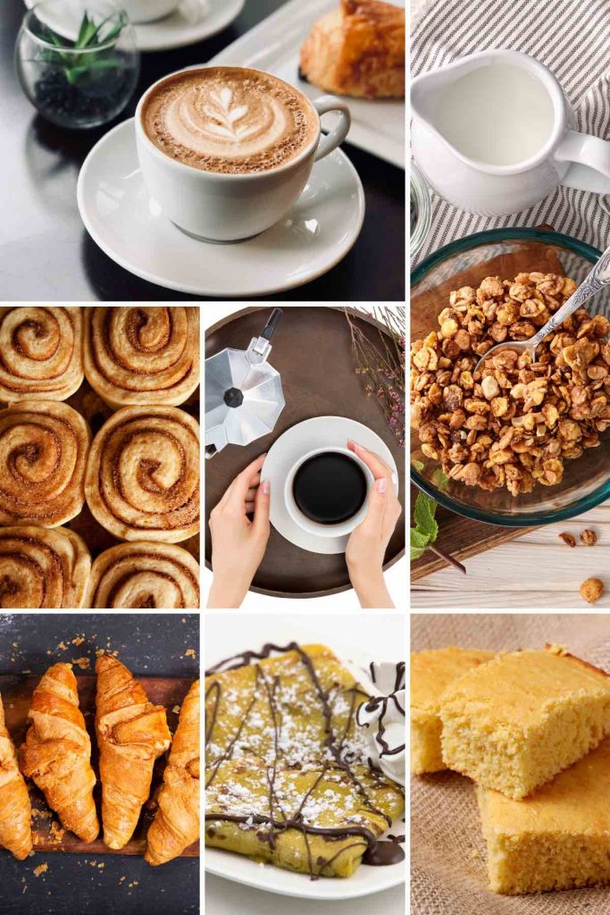 Photo collage showing breakfast dishes that start with c.