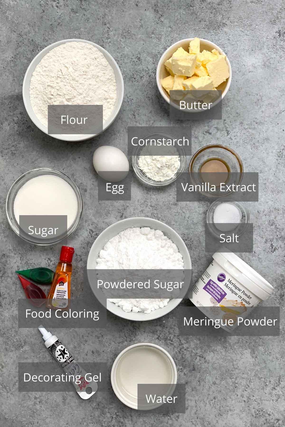 Ingredients for making baby Yoda cookies.
