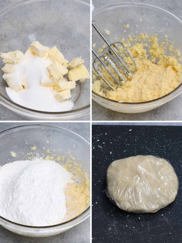 Baby yoda cookies recipe: step 1 showing how to make sugar cookie dough.