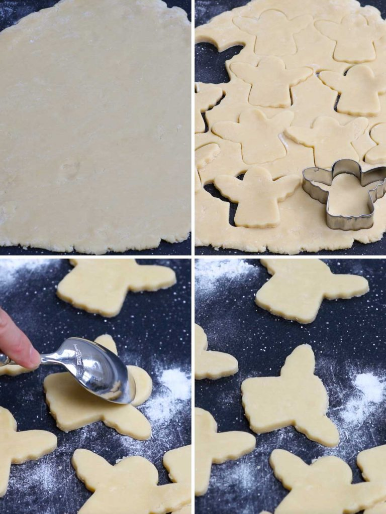 Baby yoda cookies recipe: step 2 showing how to shape baby yoda using an angel cutter.