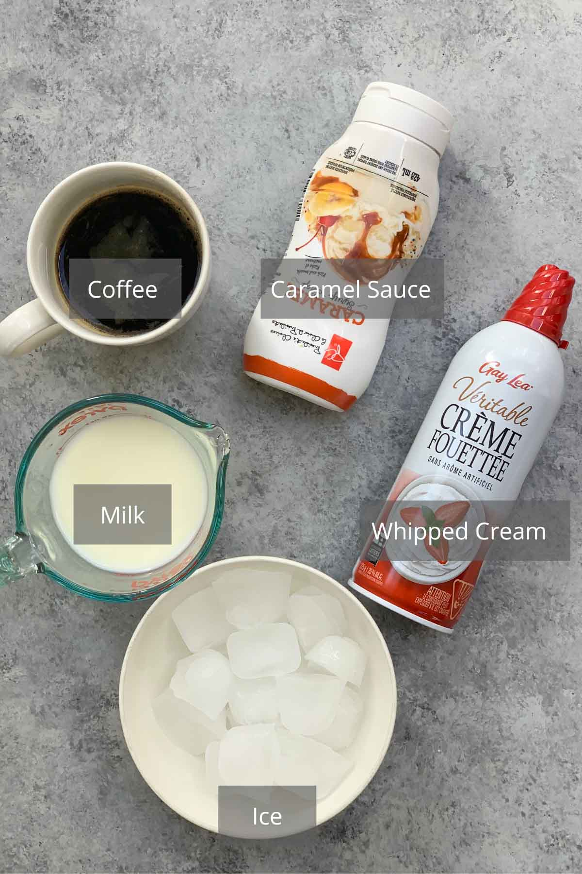 Caramel Frappuccino ingredients on the counter.