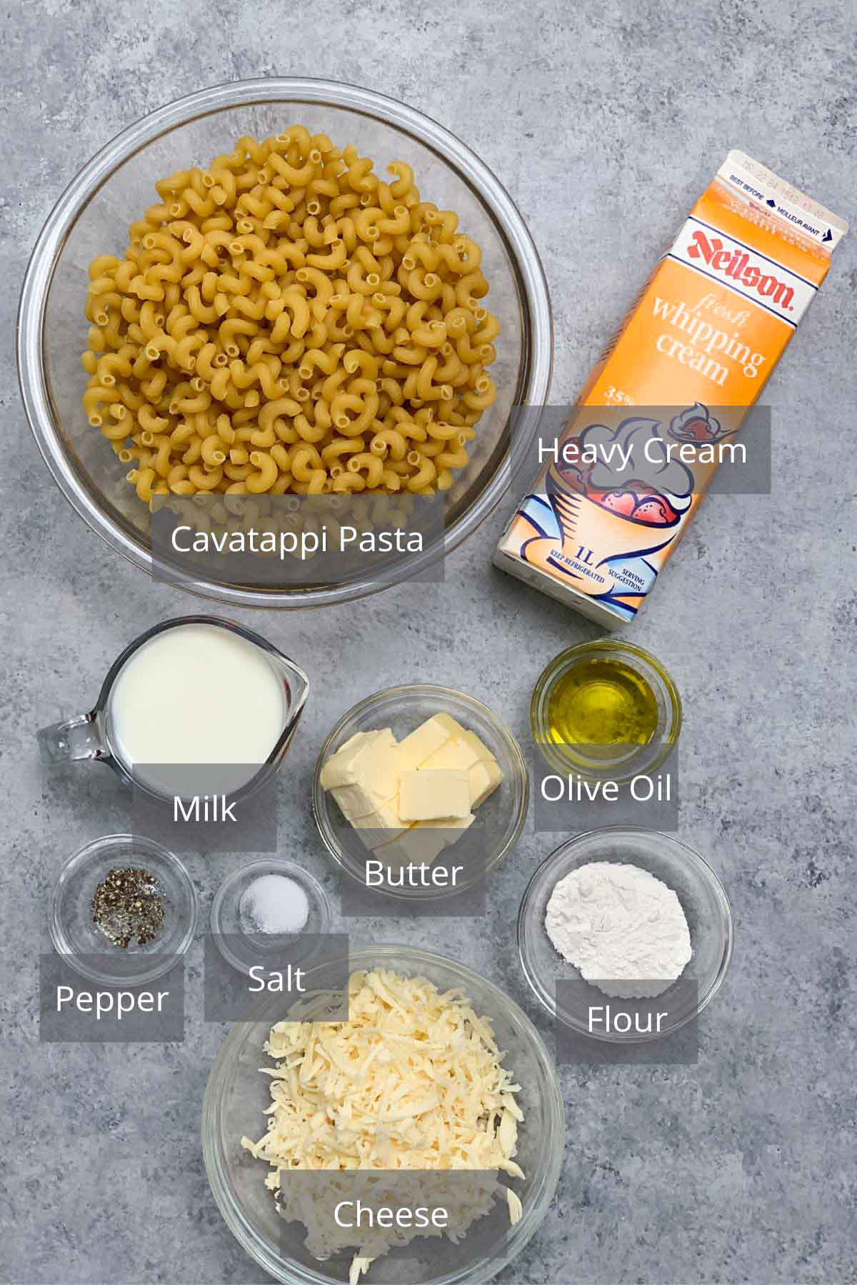 Creamy Cavatappi Pasta ingredients on the counter.