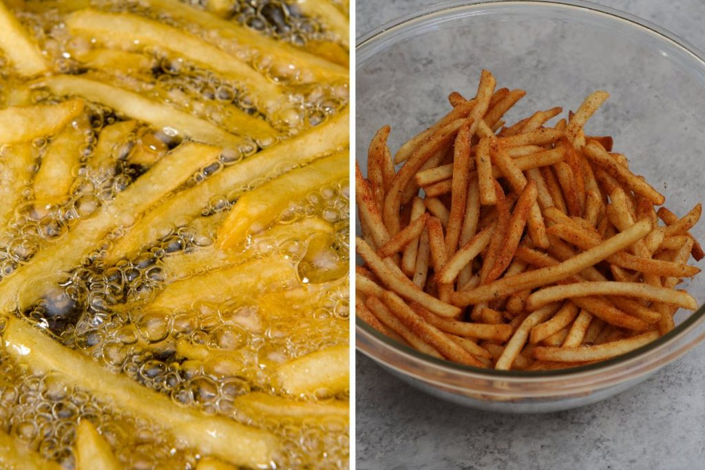 Popeyes fries step 3: deep frying french fries.