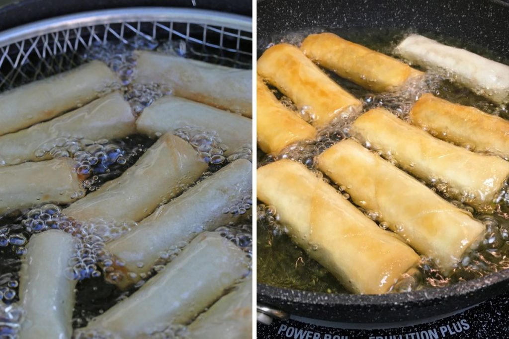 Photo collage showing deep frying harumaki rolls.