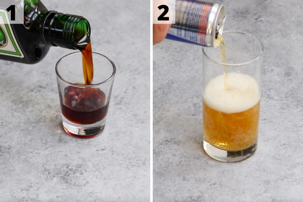 Jager Bomb recipe: step 1 and 2 photos.