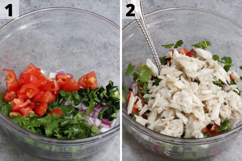 Jaiba Ceviche recipe: step 1 and 2 photos.