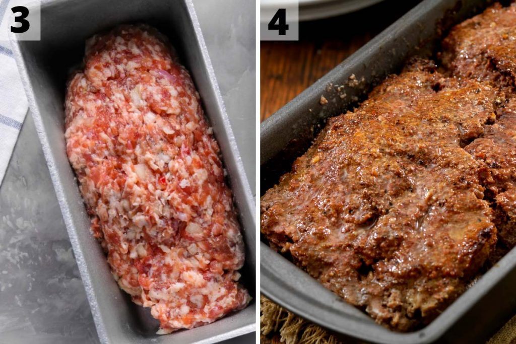 Lipton Onion Soup Meatloaf Recipe: step 3 and 4 photos.