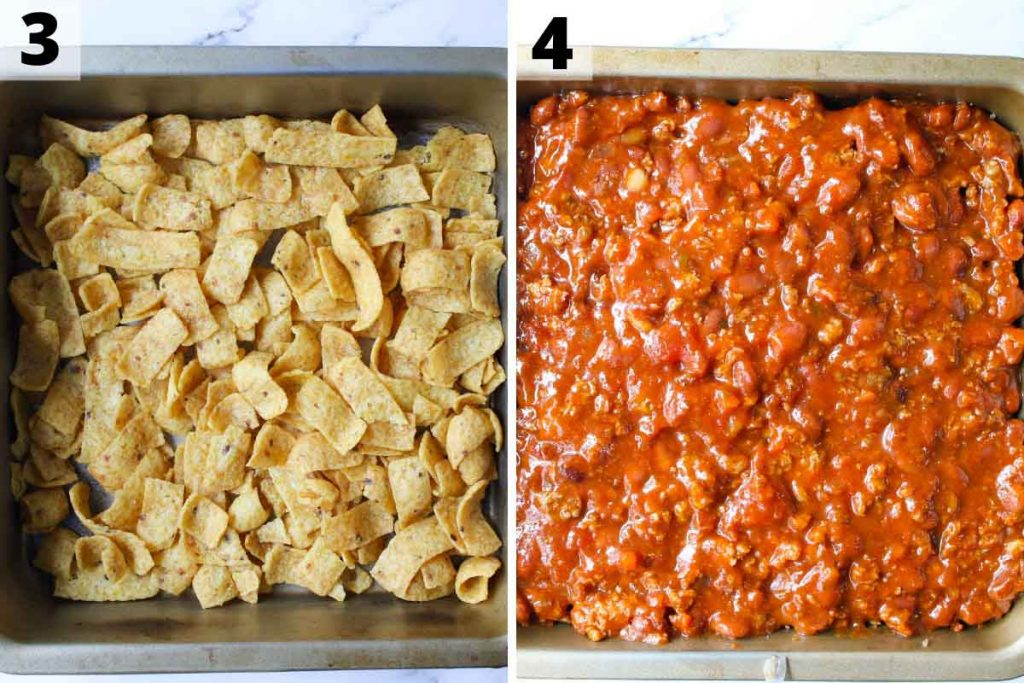 Walking Taco Casserole Recipe: Step 3 and 4 photos.