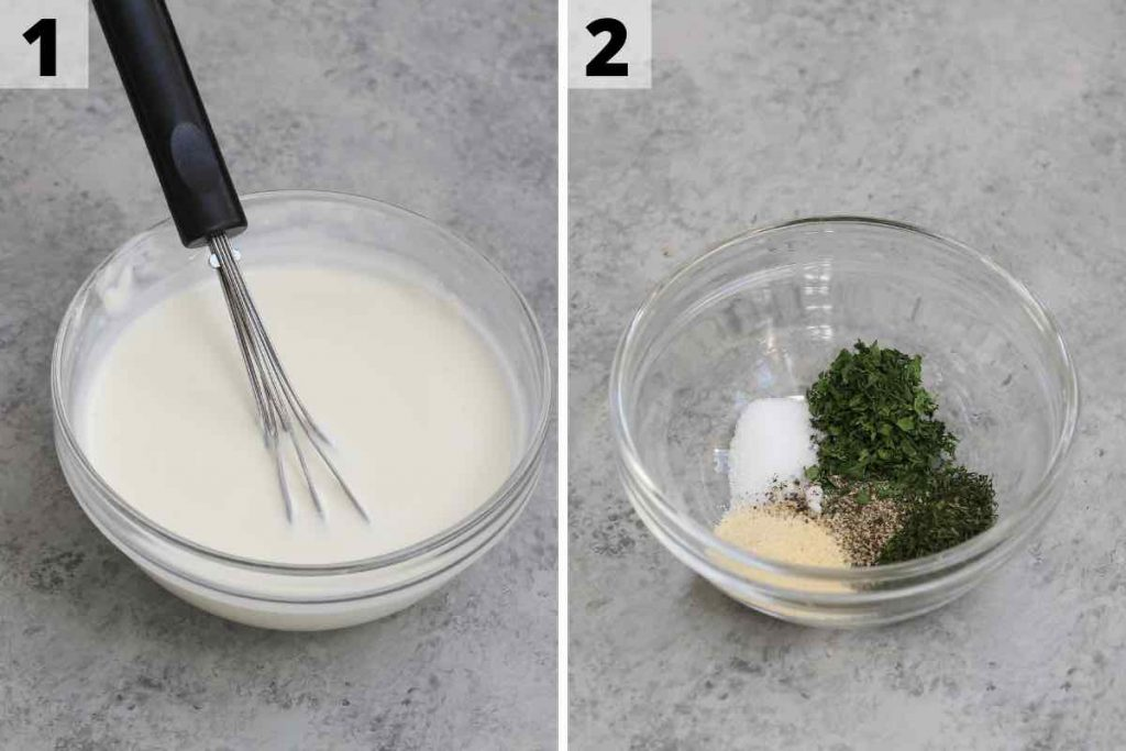 Wingstop Ranch recipe: step 1 and 2 photos.