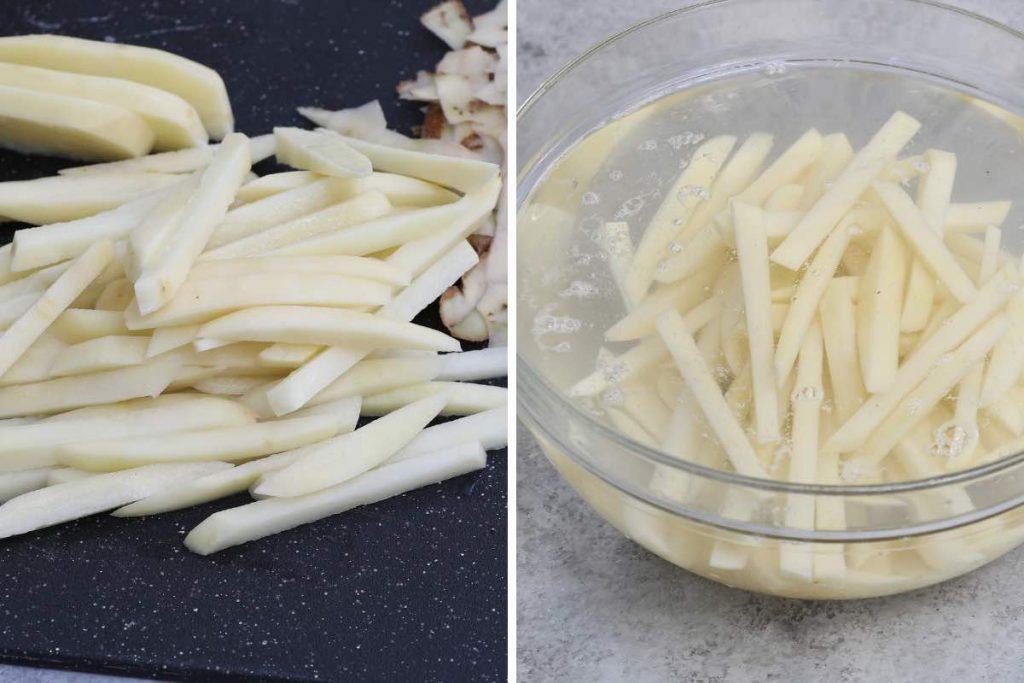 Popeyes fries recipe step 1: soak the potatoes.