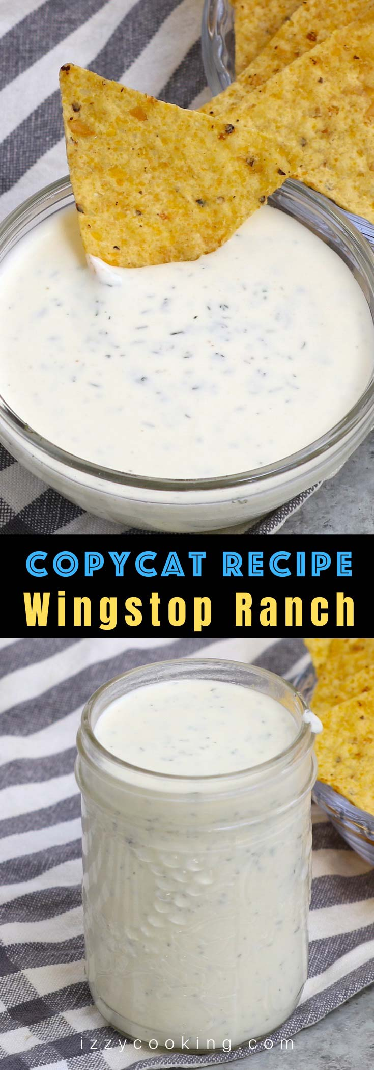 The Best Wingstop Ranch salad dressing is super flavorful and tastes better than anything store-bought! It's our go-to dip for buffalo chicken wings, veggies, chips and pizza alike. This easy copycat ranch recipe takes less than 5 minutes to make at home and is just like the one you would get at a Wingstop restaurant.