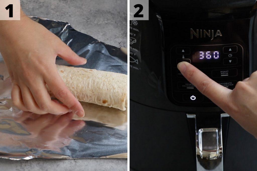 Air Fryer Burritos recipe: step 1 and 2 photos.